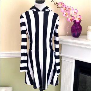 Beetlejuice Black White Stripe Flared Hoodie Dress